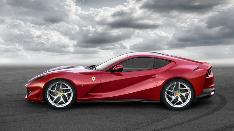 Ferrari 812 Superfast, суперкар, вид сбоку (horizontal)