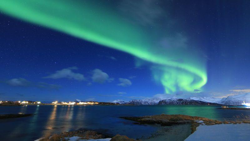 северное сияние, зима (horizontal)
