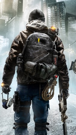 Tom Clancy's, The Division, солдат, апокалипсис, ps4, xbox one, PC, оружие, руины, город, 2015 (vertical)