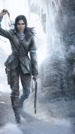Rise of the Tomb Raider, Лара Крофт, игра, лук, лед, арт, Лучшие игры, фантастика, ПК, PS4, Xbox One (vertical)