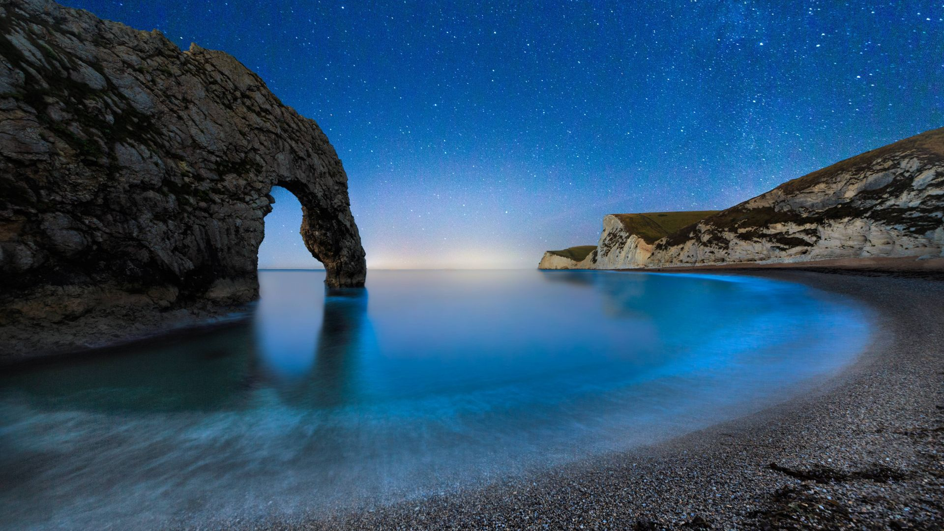Дердл Дор, 5k, 4k, море, пляж, ночь, Англия, Durdle Door, 5k, 4k wallpaper, beach, night, stars, sea, England (horizontal)