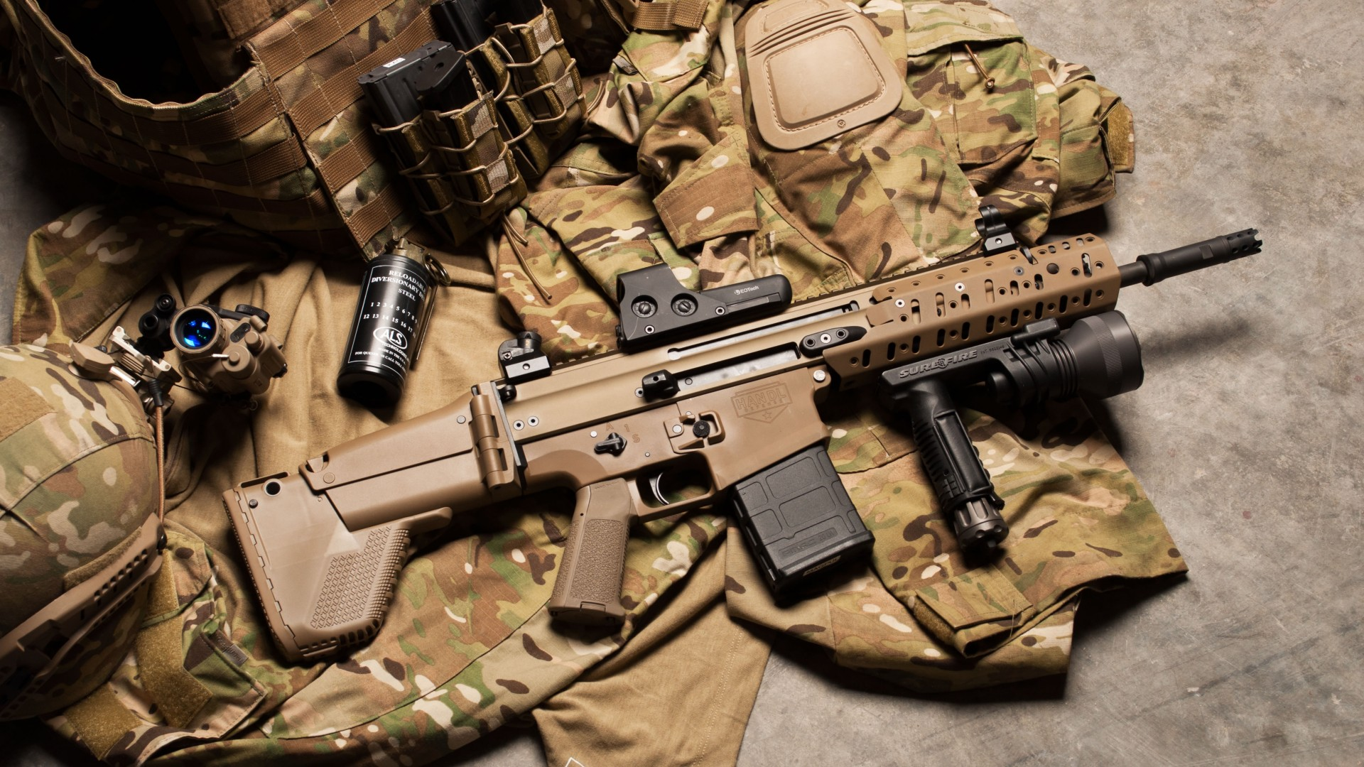FN SCAR, штурмовая винтовка, аммуниция, униформа, FN SCAR, assault rifle, modular rifle, FN Herstal, hand grenade, military, ammunition, uniform (horizontal)