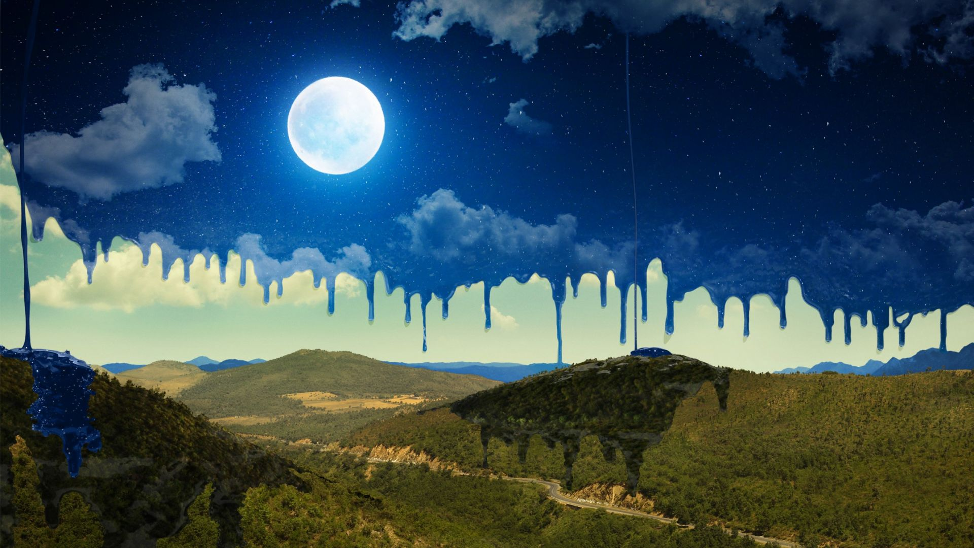 луна, горы, moon, mountains, night, art, HD (horizontal)