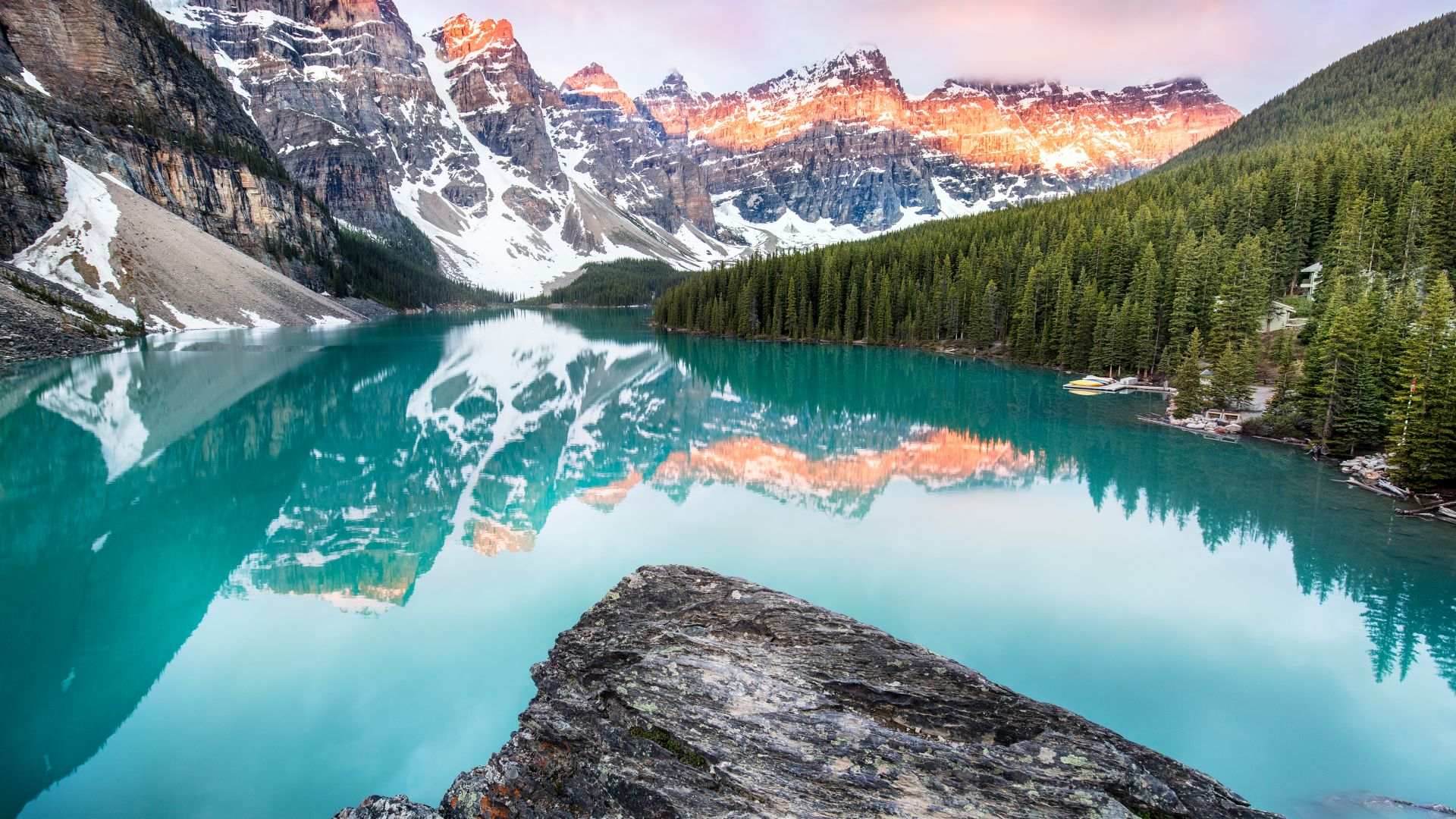 озеро Морейн, горы, Moraine Lake, Banff, Canada, mountains, forest, 4k (horizontal)