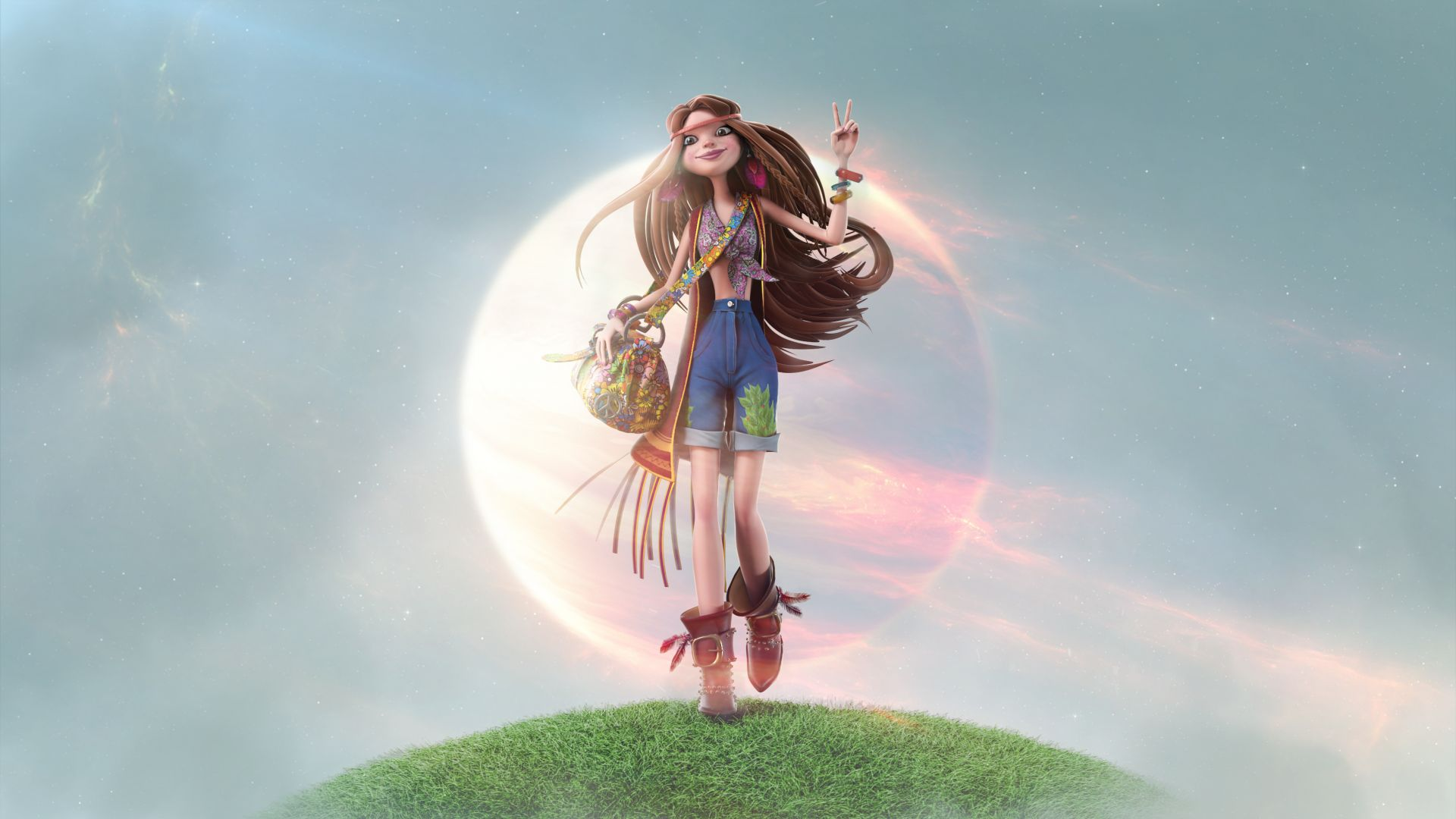 девушка, Girl, hippie, beauty, 3D (horizontal)