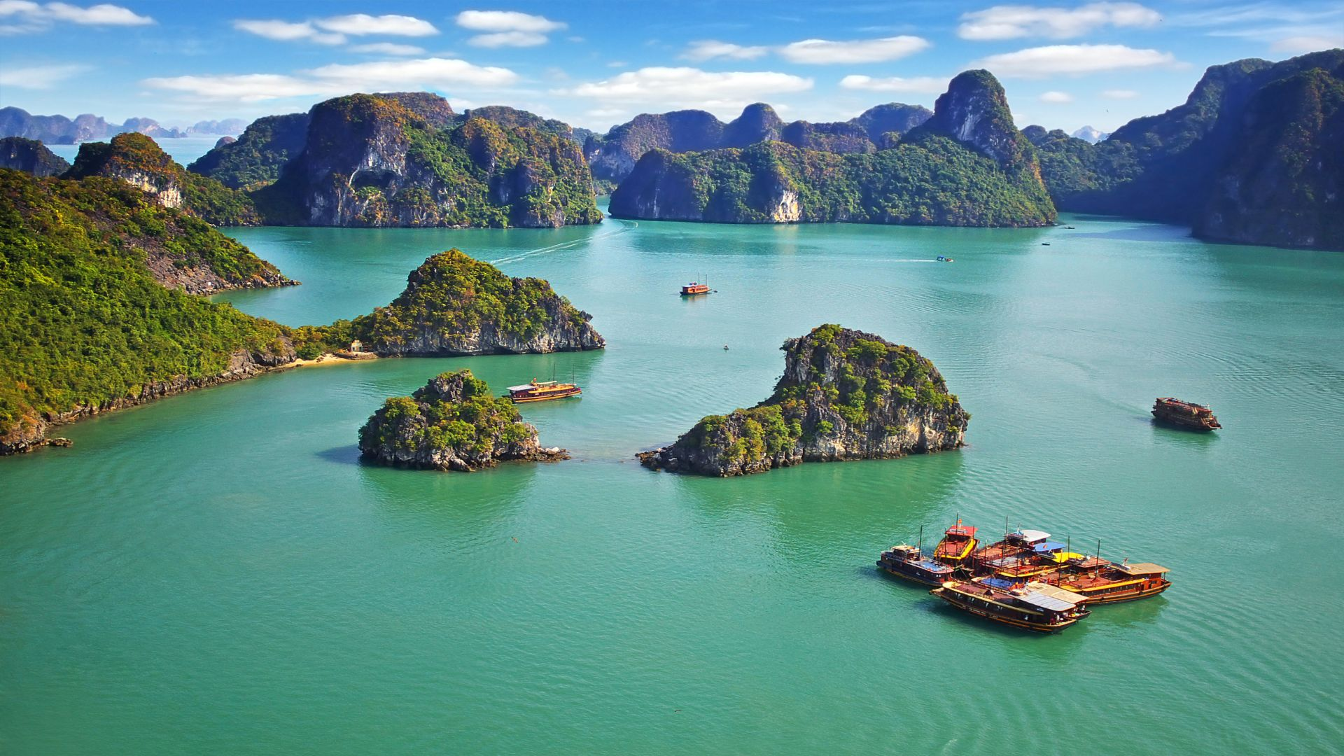 Бухта Халонг, горы, море, Ha Long Bay, Vietnam, mountains, sea, 8k (horizontal)