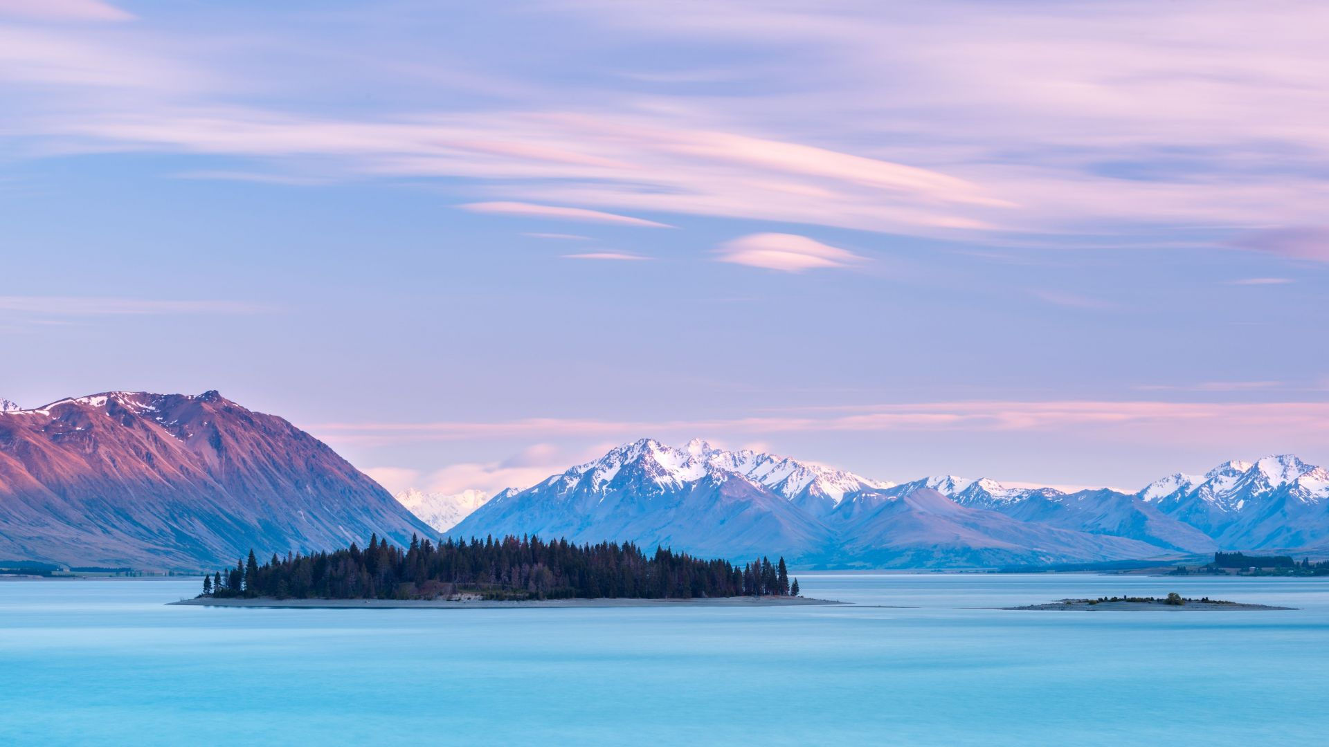 Озеро Текапо, Новая Зеландия, Lake Tekapo, New Zealand, mountains, sky clouds, 8k (horizontal)