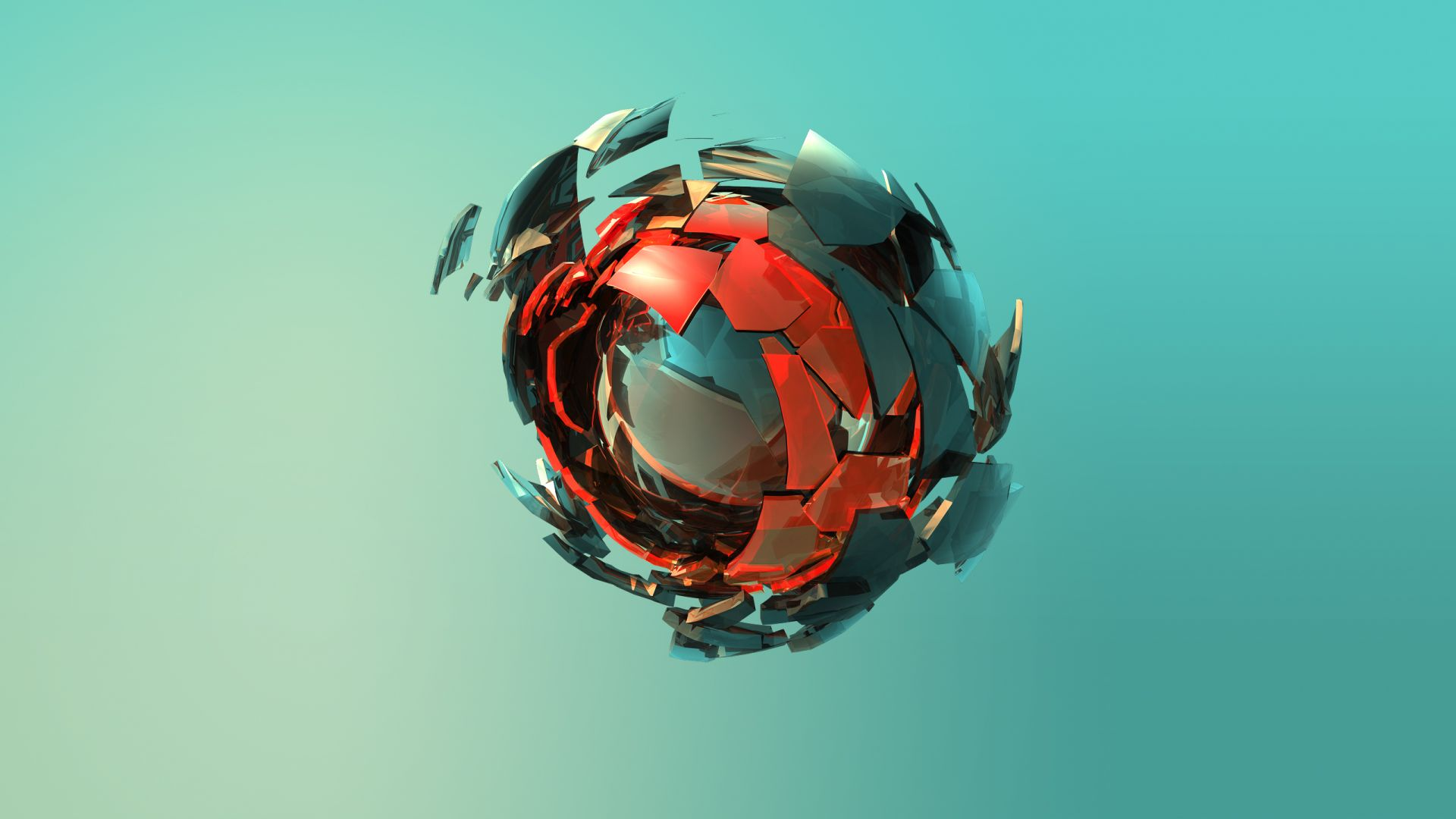 сфера, sphere, 3D, red, green, HD (horizontal)