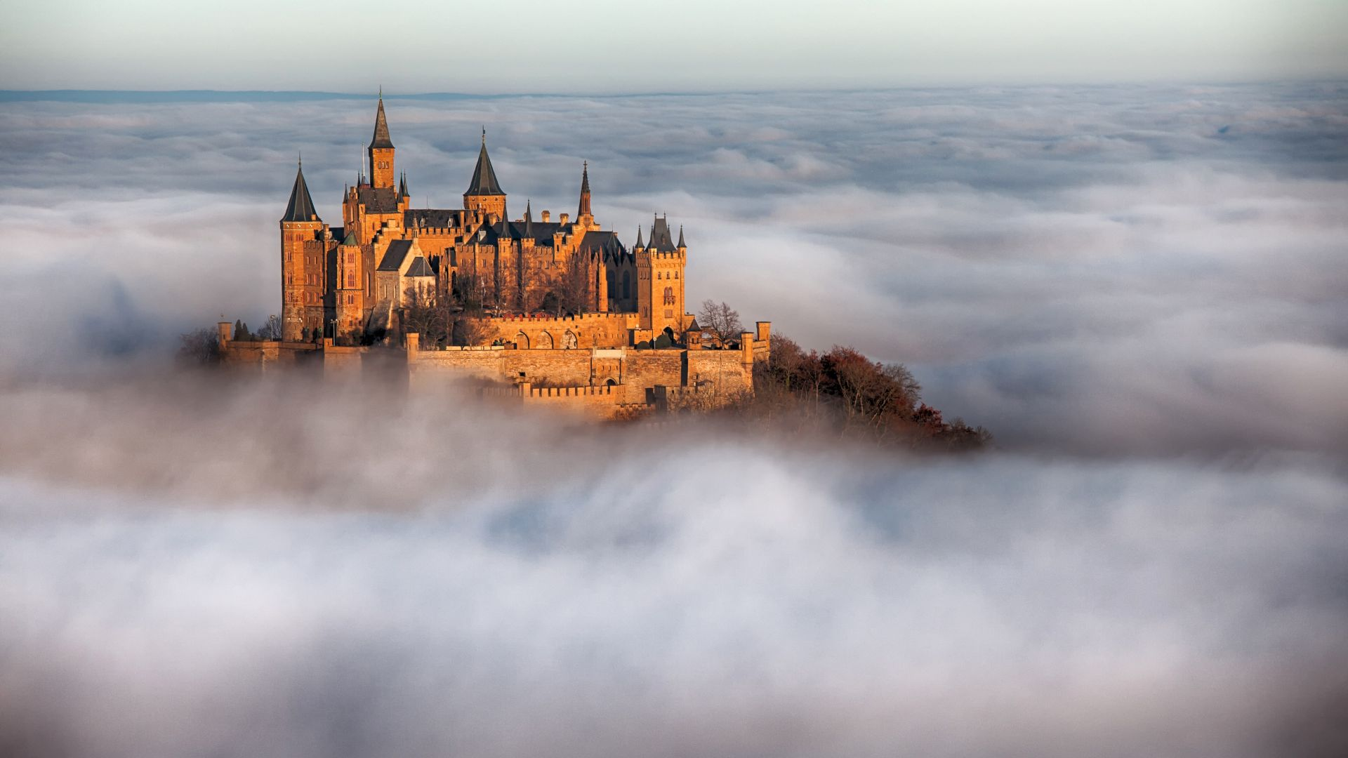 Замок Гогенцоллерн, Hohenzollern Castle, Germany, Europe, fog, 4k (horizontal)