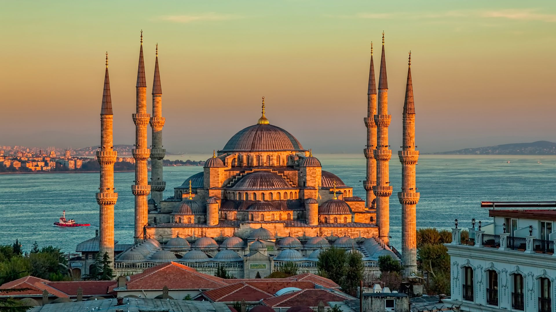 Голубая мечеть, Sultan Ahmed Mosque, Turkey, Istanbul, sunrise, 4k (horizontal)