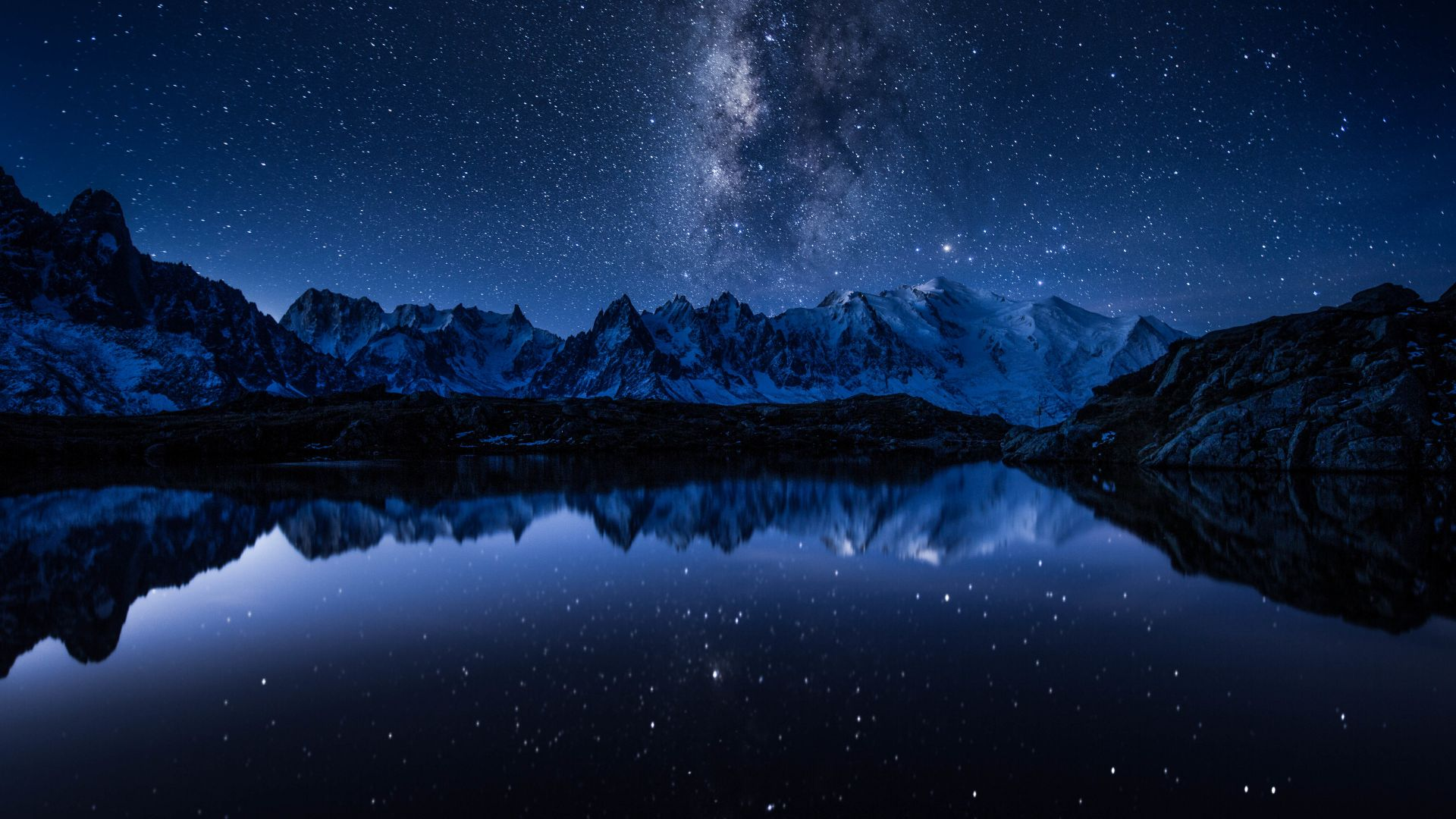 звезды, горы, stars, mountains, lake, 5k (horizontal)