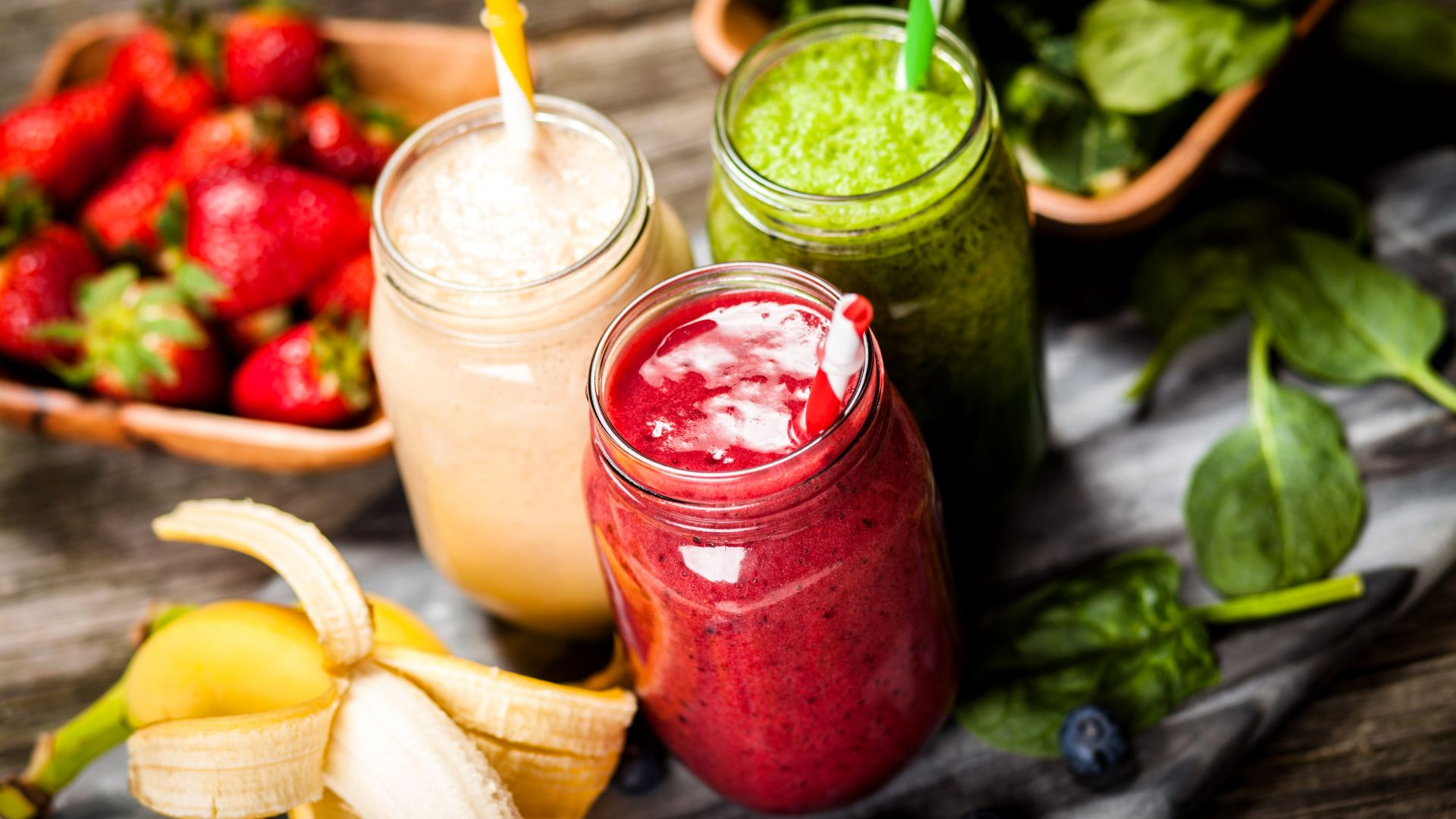 смузи, smoothies, strawberry, banana, mint, delicious, 5k (horizontal)