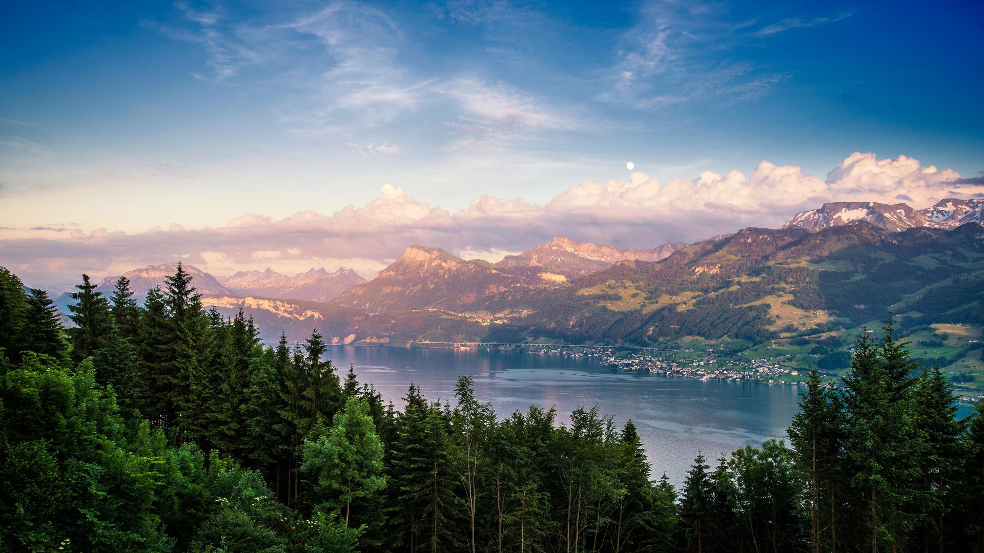 озеро, Lake Zurich, forest, sky, mountains, 4k (horizontal)