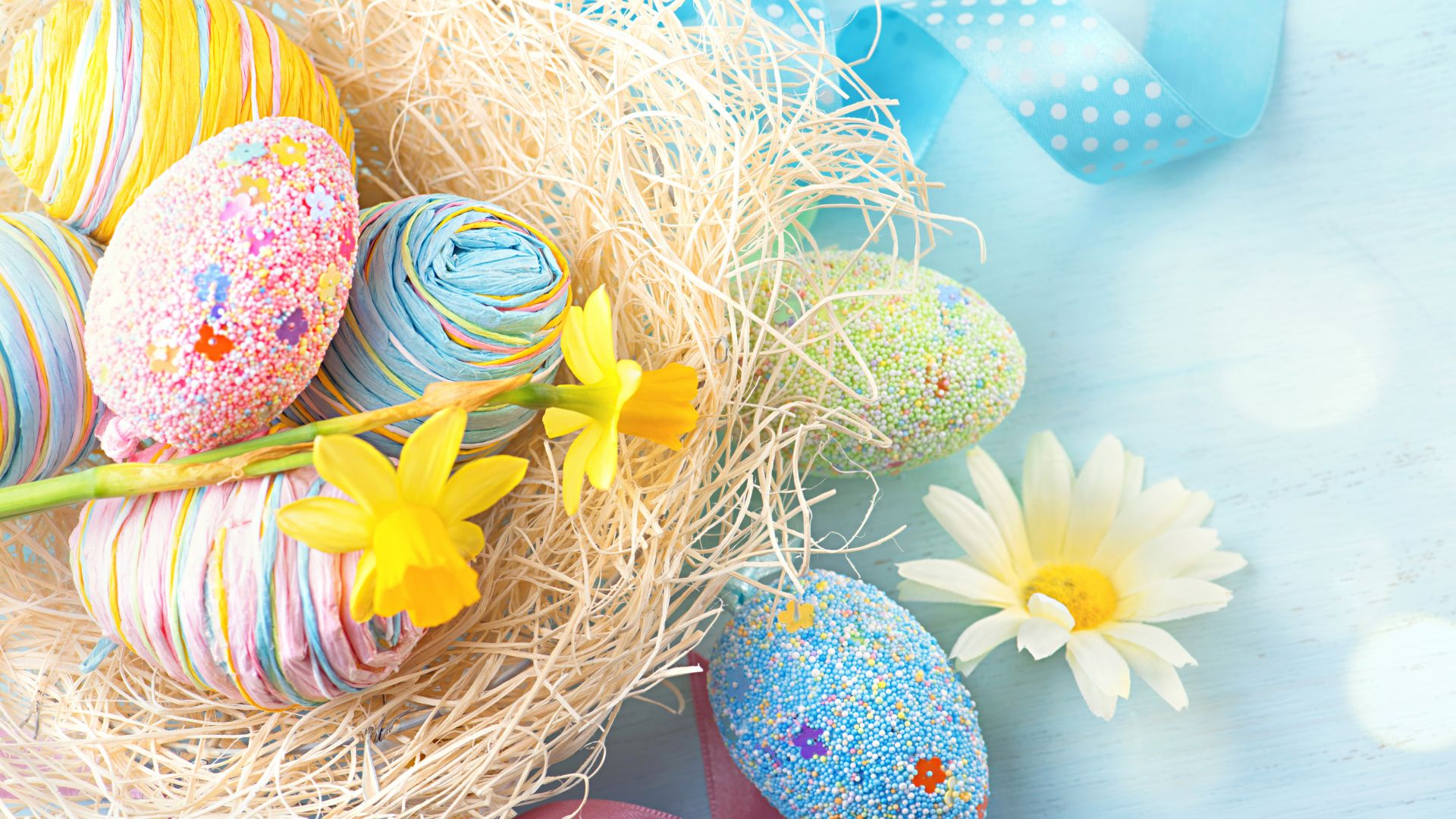 Пасха, Easter, eggs, flower, 8k (horizontal)