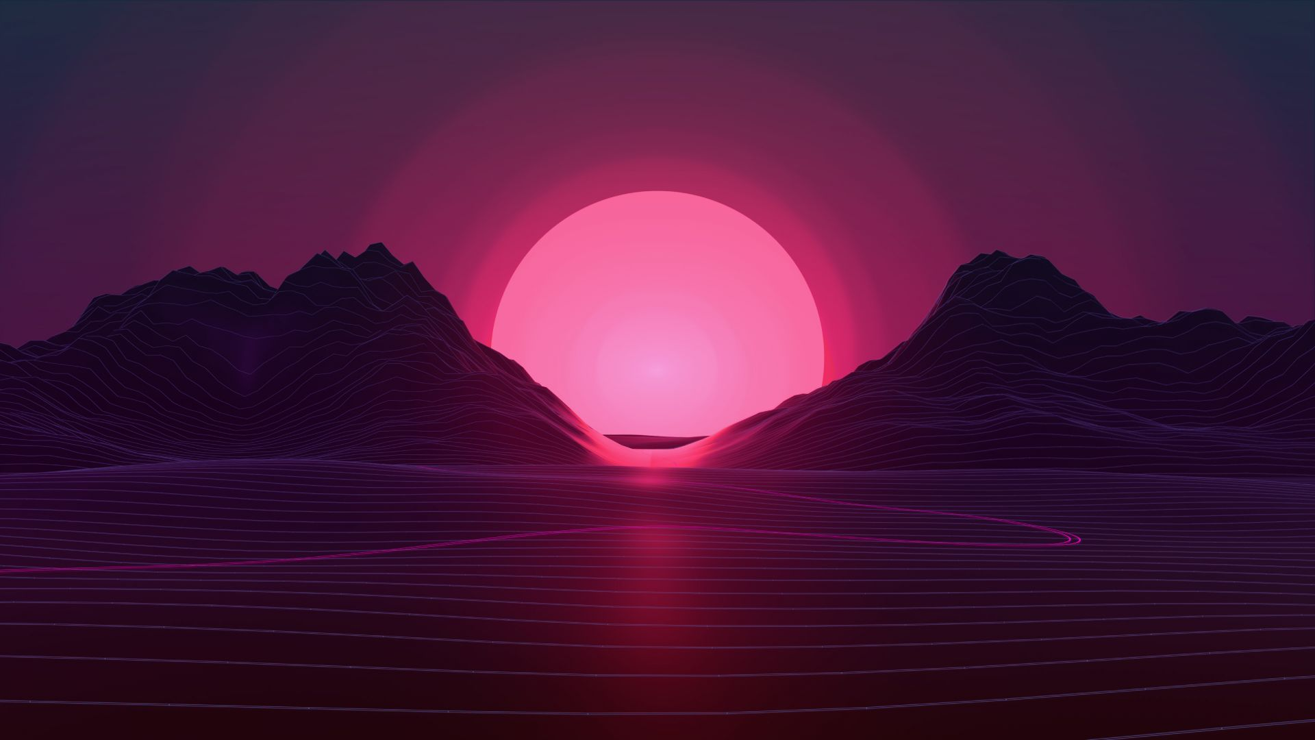 Ретровейв, Retrowave, lines, sunset, 4K (horizontal)