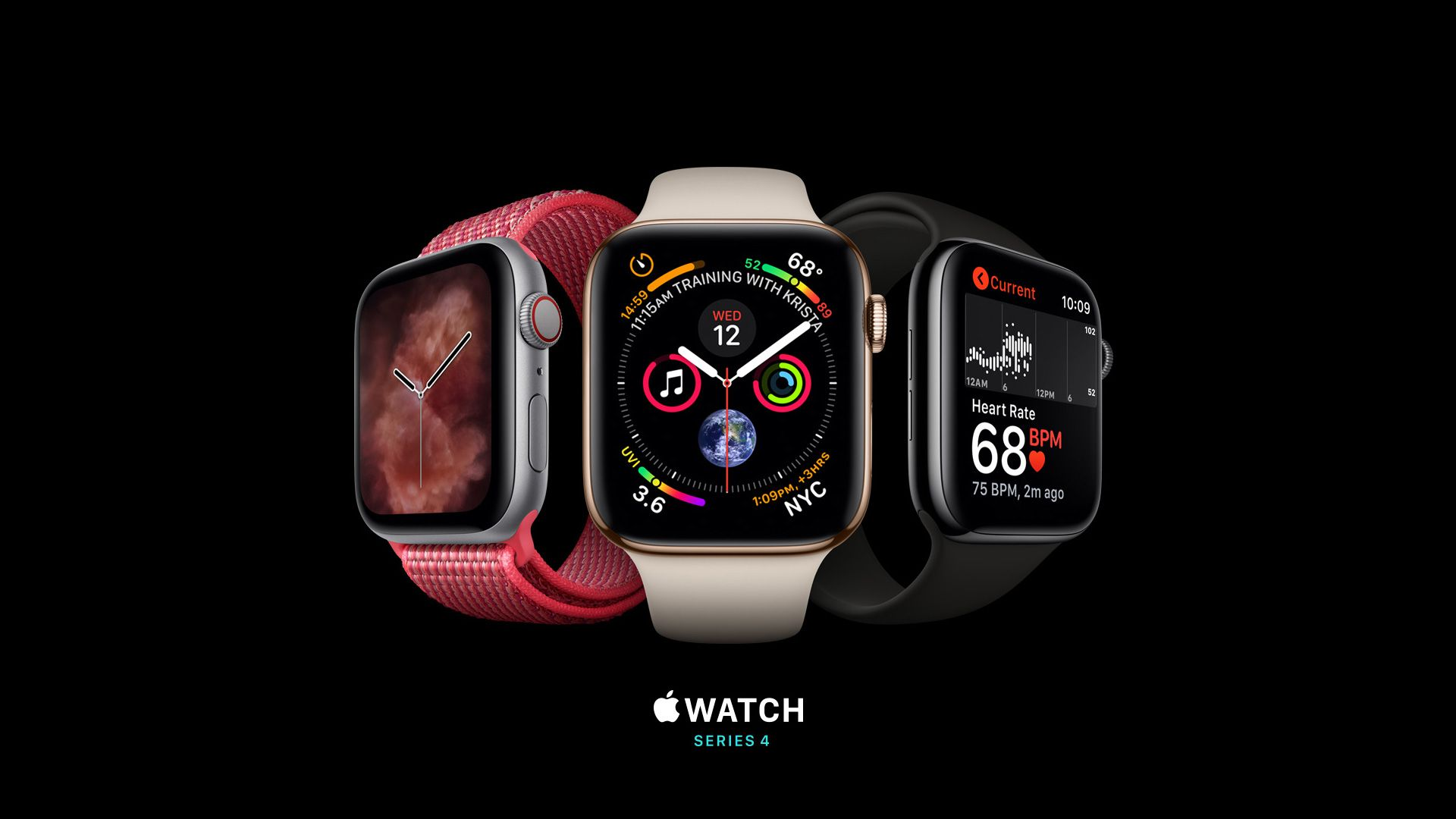 Apple Watch Series 4, silver, gold, black, Apple September 2018 Event, Apple Watch Series 4, silver, gold, black, Apple September 2018 Event (horizontal)