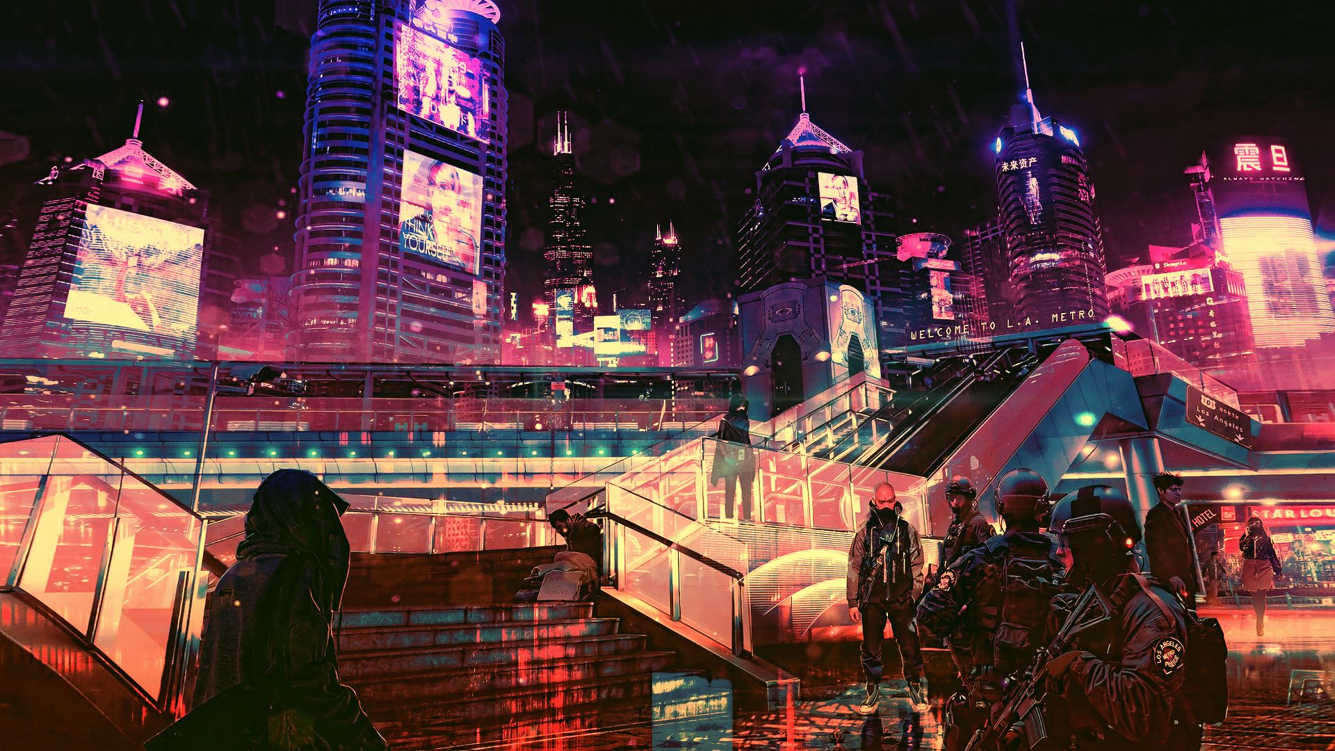 город будущего, futuristic, cyberpunk, future world, 4K (horizontal)