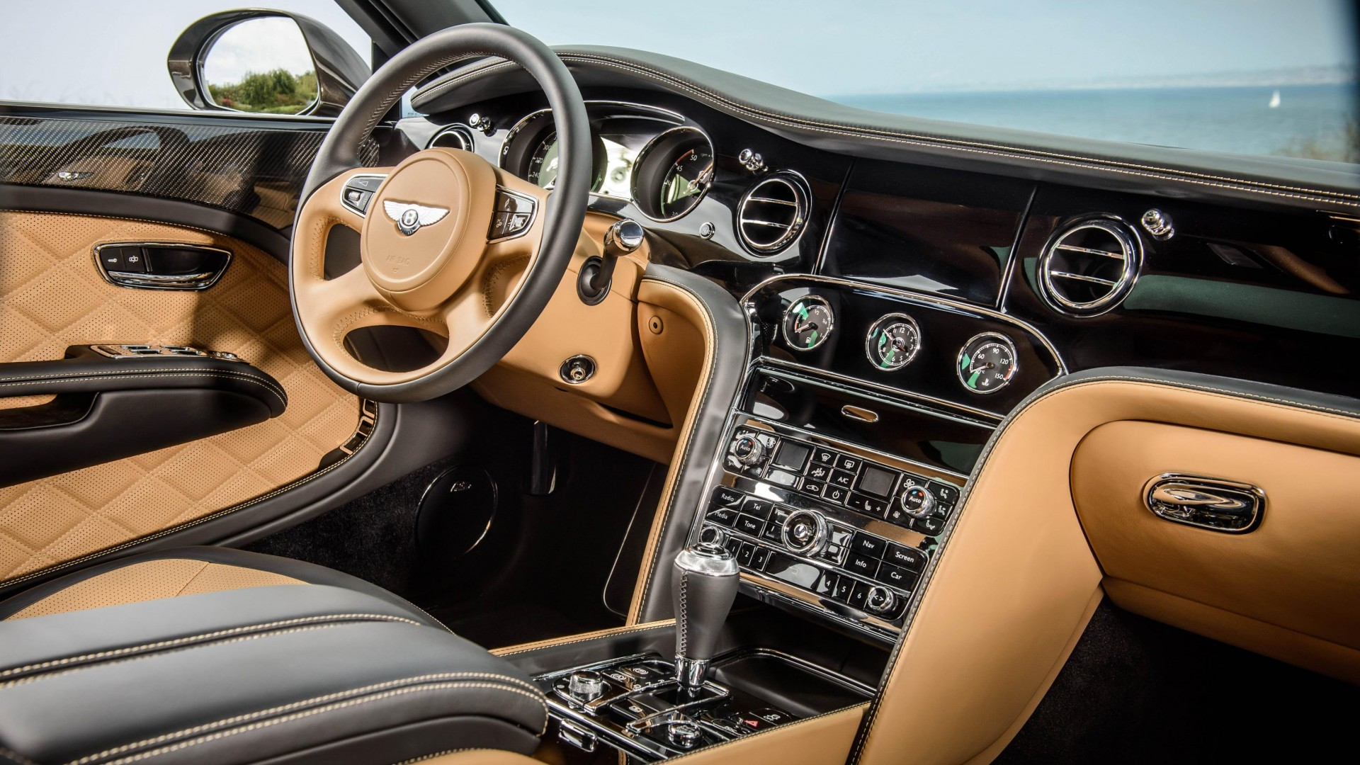 Бэнтли, салон, класс-люкс, Bentley Mulsanne, interior, luxury cars, Bentley, Flying B, metallic, leather, 2015 Detroit Auto Show. NAIAS (horizontal)