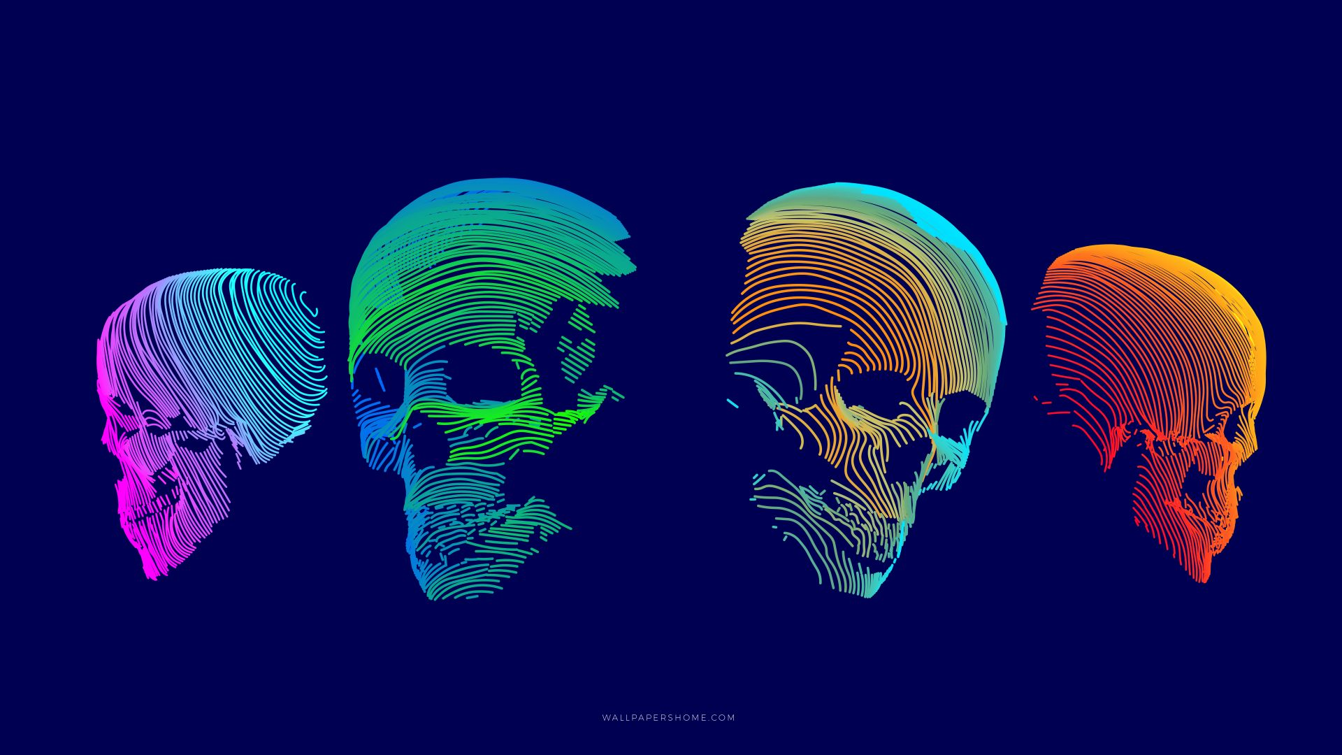абстракция, abstract, 3D, colorful, skull, 8k (horizontal)