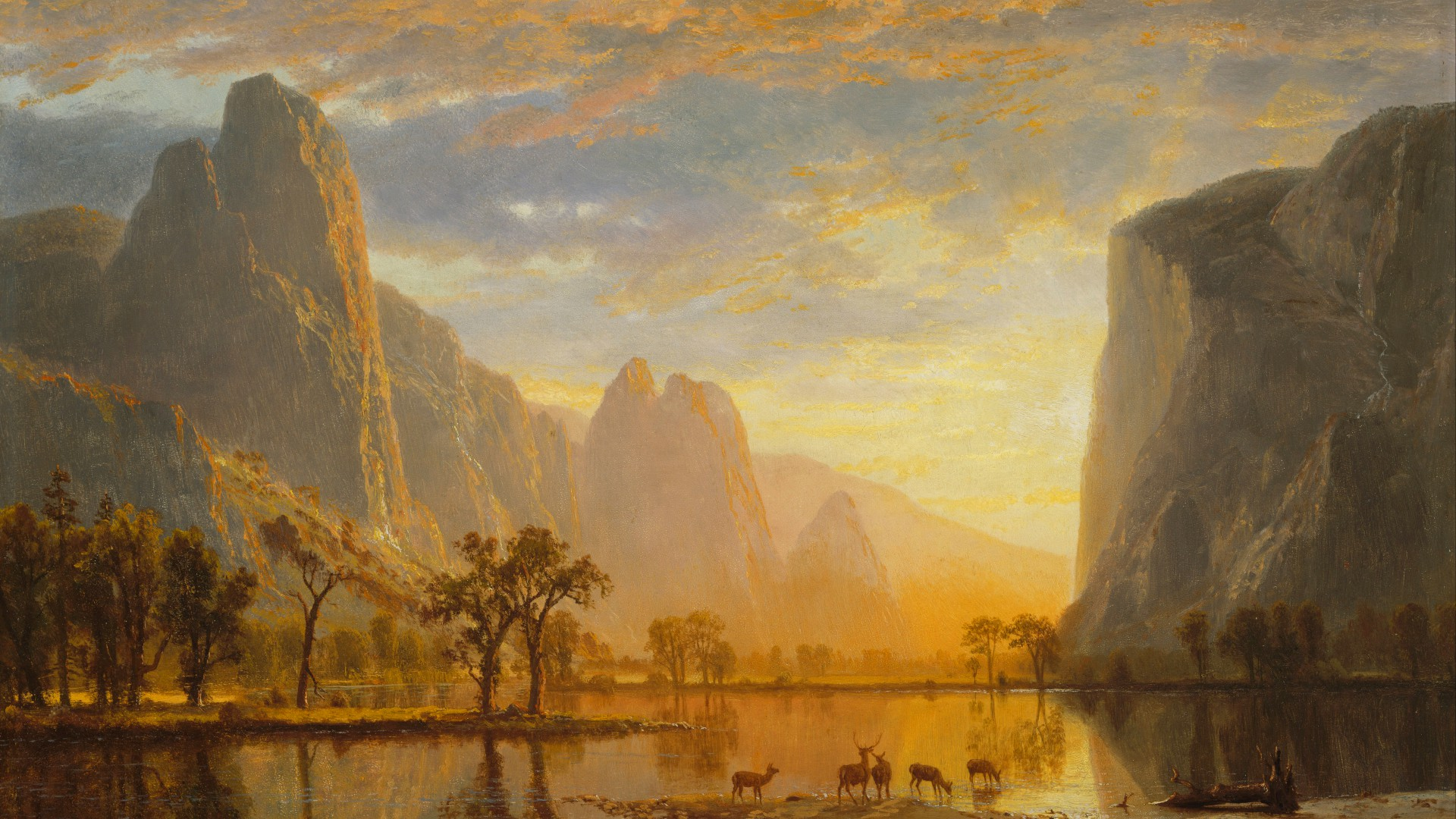 an analysis of albert bierstadts scenic canvas oil painting the sierra nevada mountains