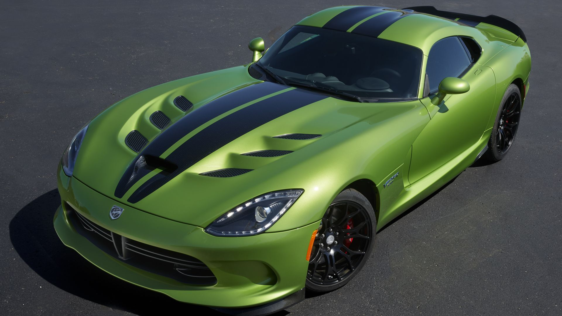 Додж Вайпер ГТС-Р, зеленый, скорость, Dodge Viper GTS-R, Commemorative Edition ACR, green, speed (horizontal)