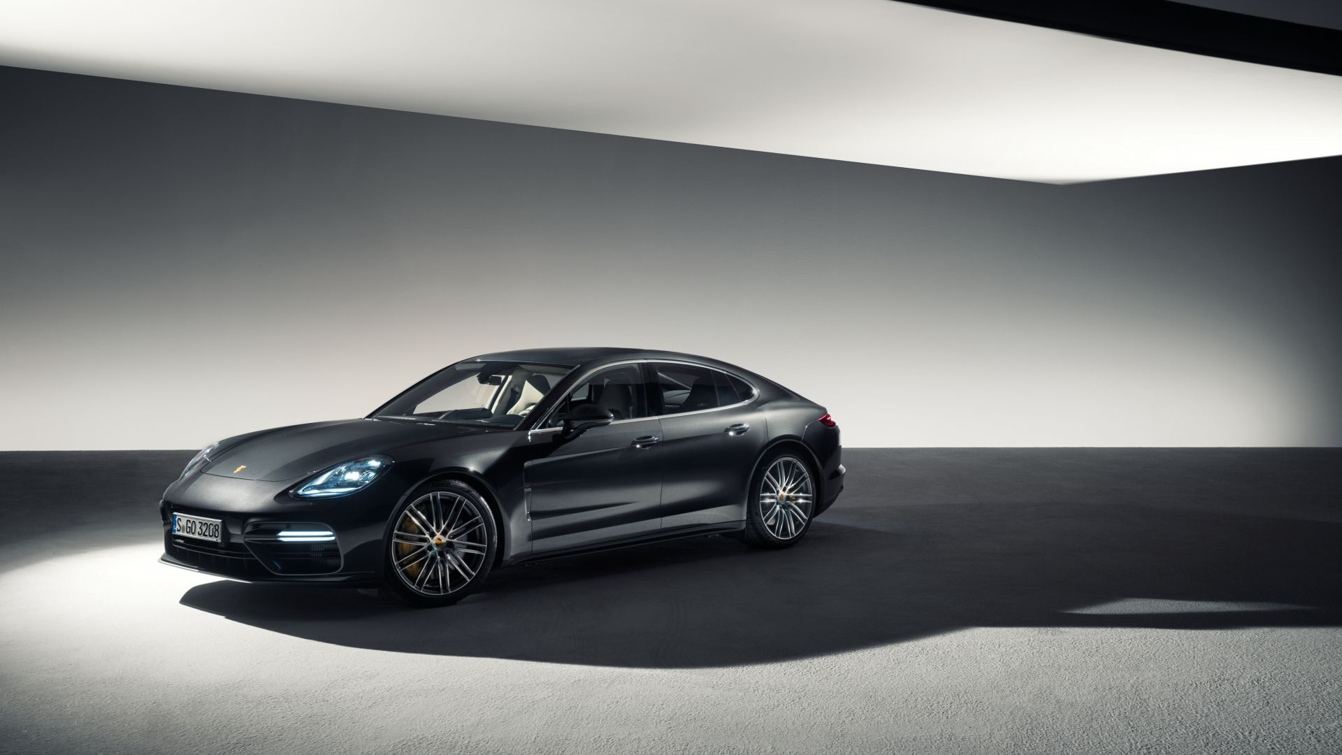 Порш Панамера Турбо, седан, черный, Porsche Panamera Turbo, sedan, black (horizontal)