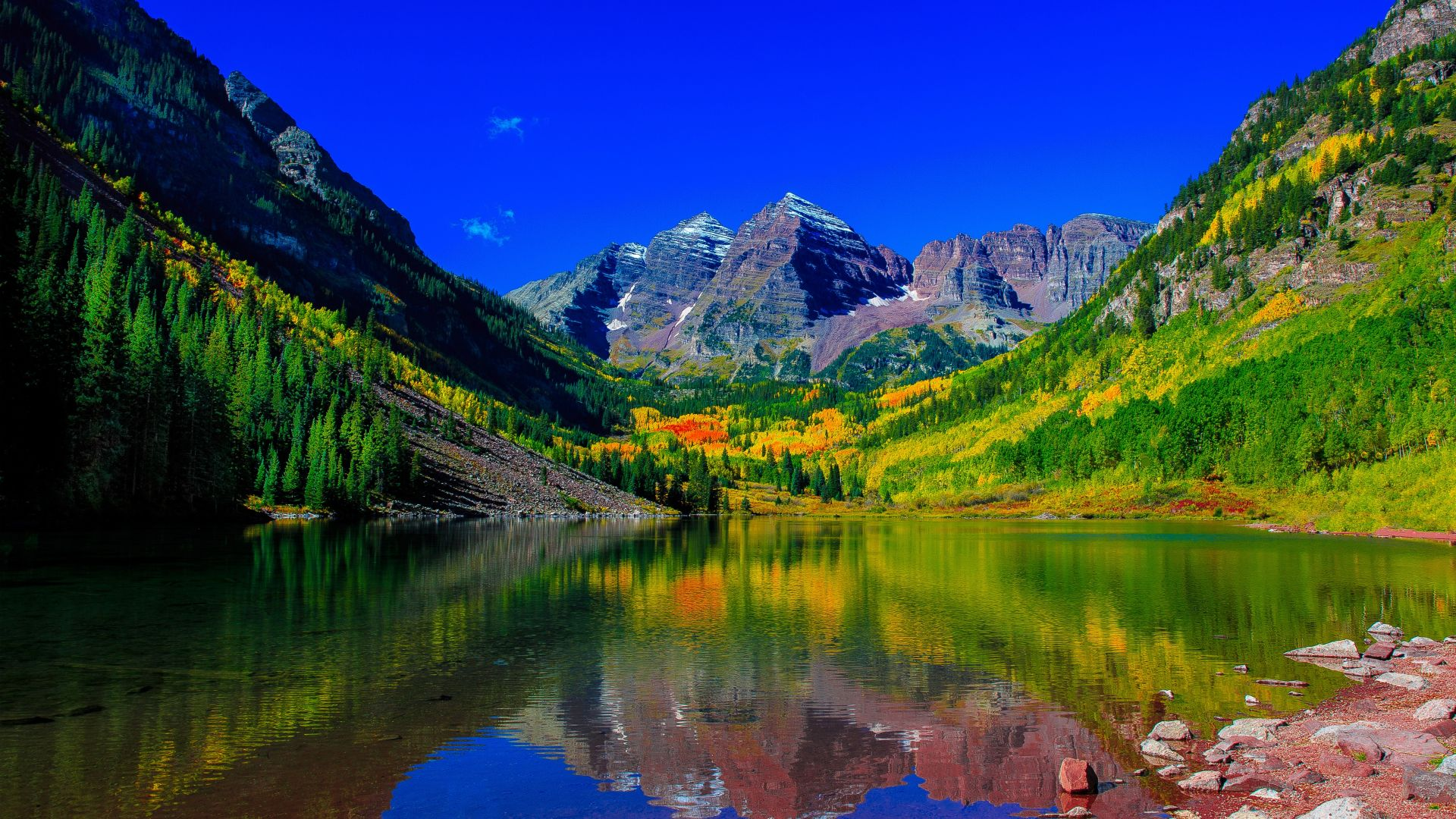 Горы колорадо, река, гора, Maroon Bells, colorado, mount, river