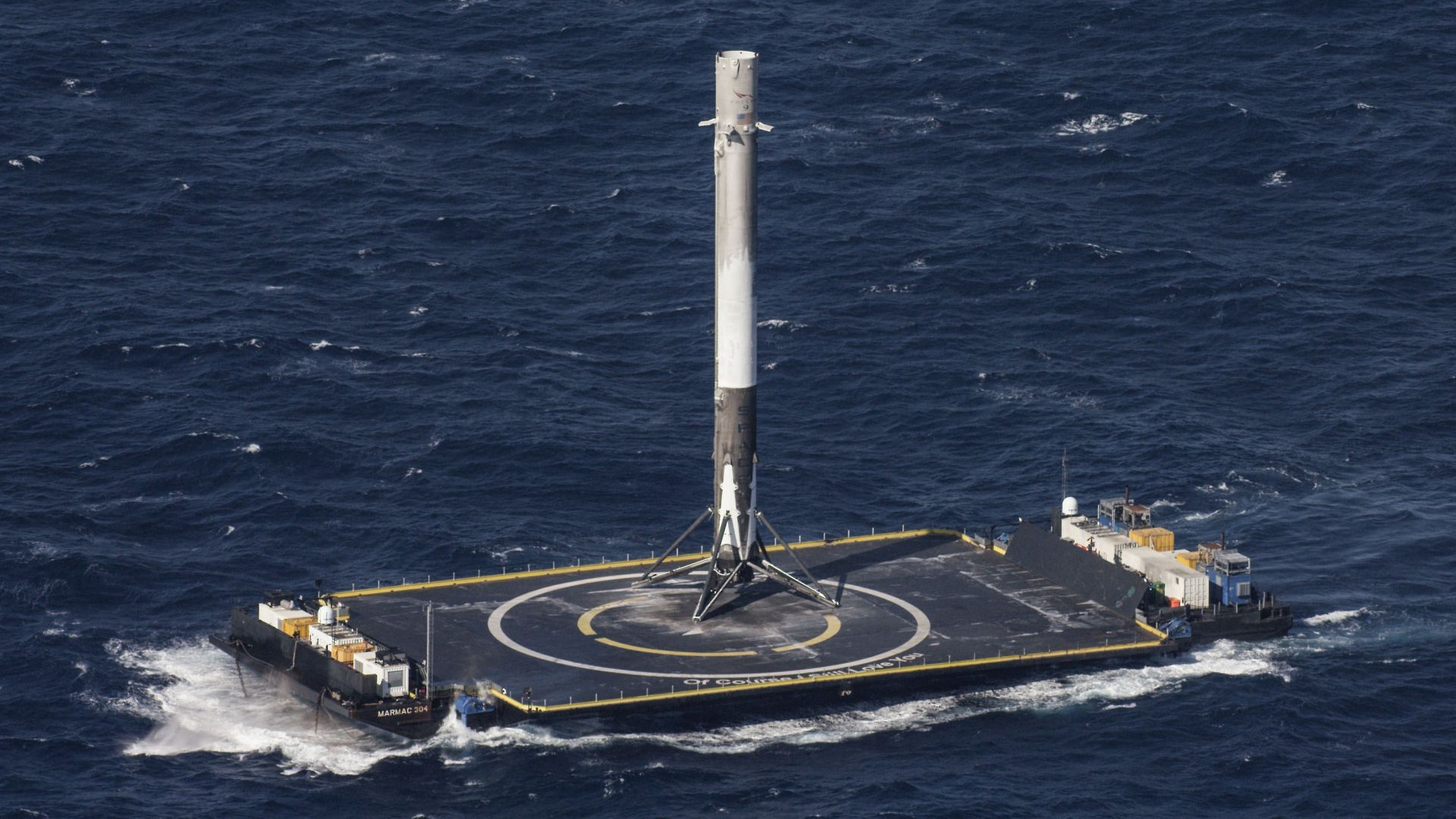 платформа, ракета, SpaceX, ship, sea, platform, rocket (horizontal)