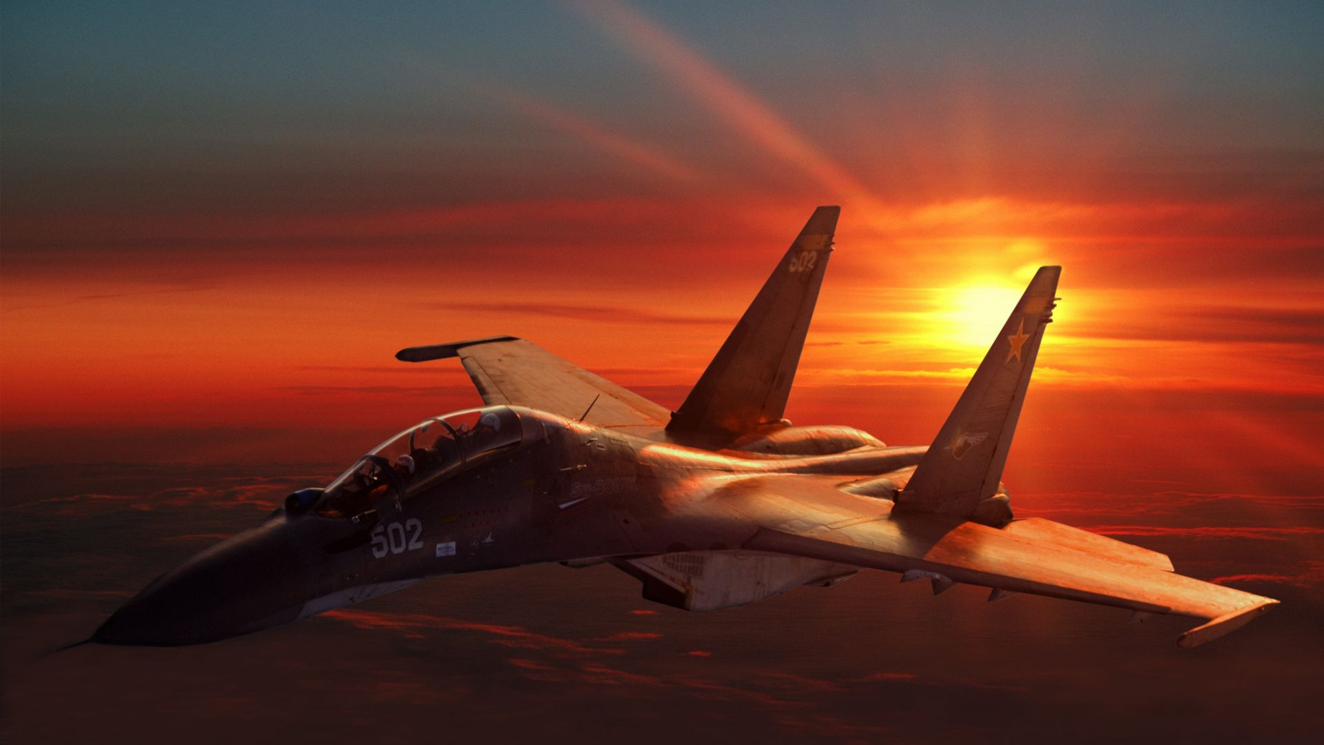 СУ-30, штурмовик, ВВС России, закат, армия России, Sukhoi Su-30, fighter aircraft, sunset, Russian Army