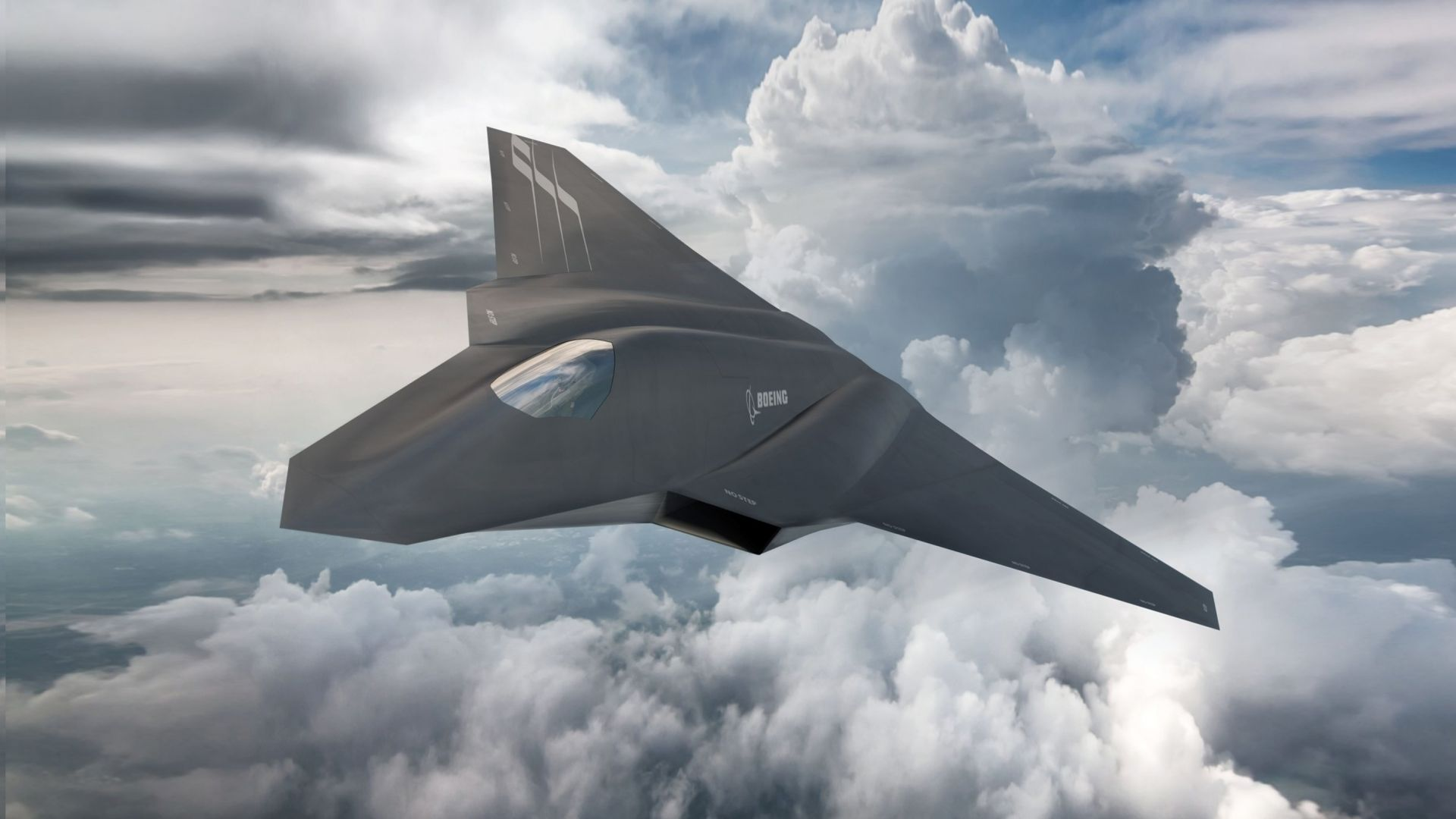 Boeing F X, Боинг, истребитель, армия Сша, ВВС США, Boeing F X, fighter aircraft, clouds, Concept, U.S. Air Force (horizontal)
