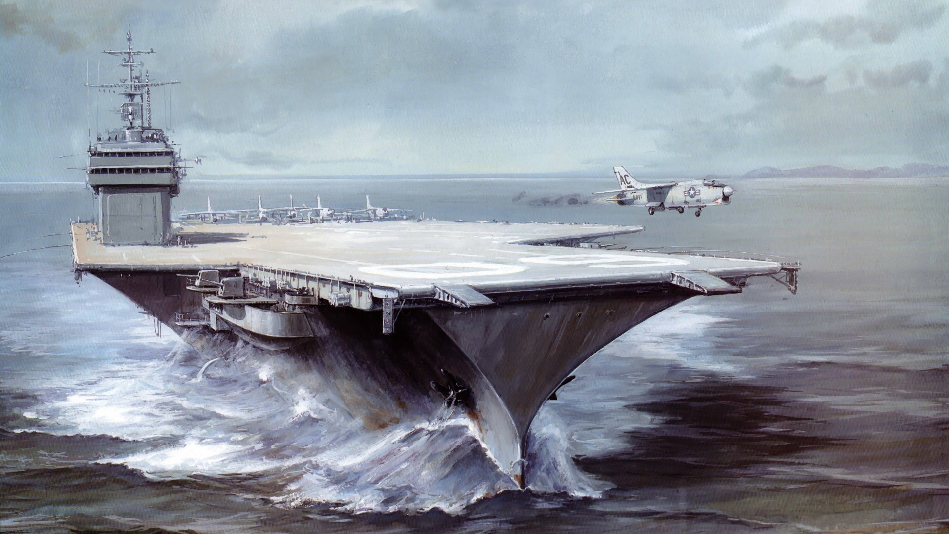 Саратога, авианосец, рисунок, арт, USS Saratoga, CVA 60, CVB-60, carrier, Forrestal-class, aircraft, art, painting (horizontal)