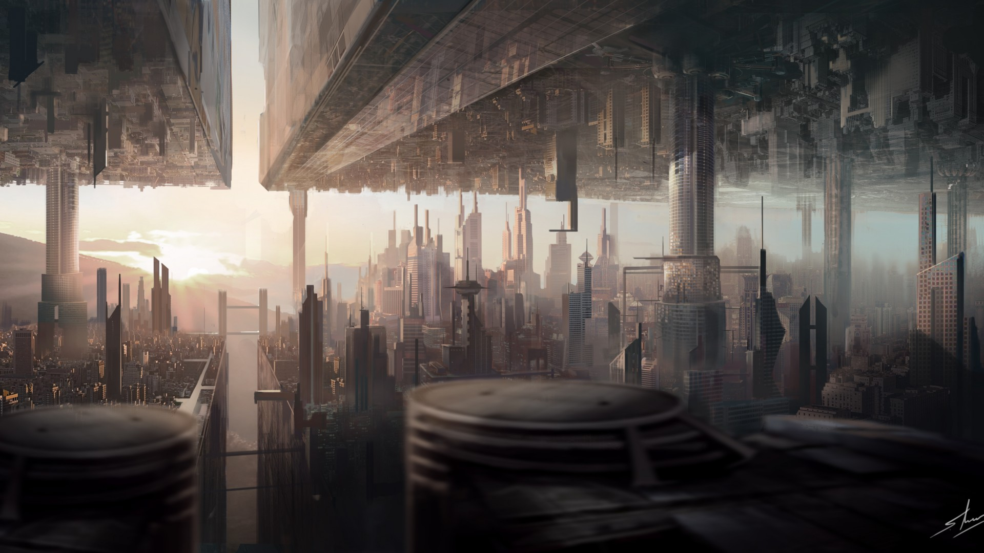 , matte painting, art, city, urban, futuristic, sci-fi, sunset (horizontal)