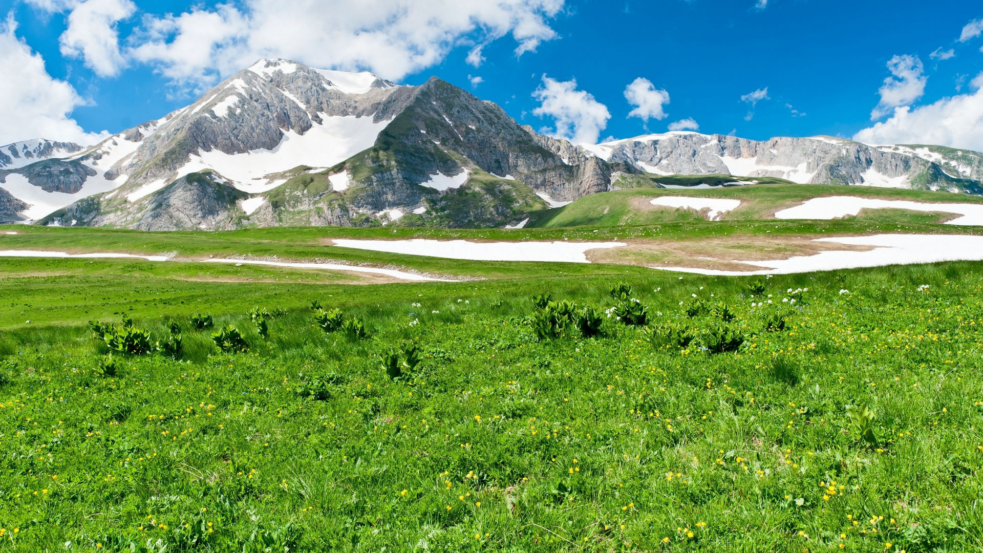 Горы, луга, небо, трава, Mountains, meadows, sky, grass