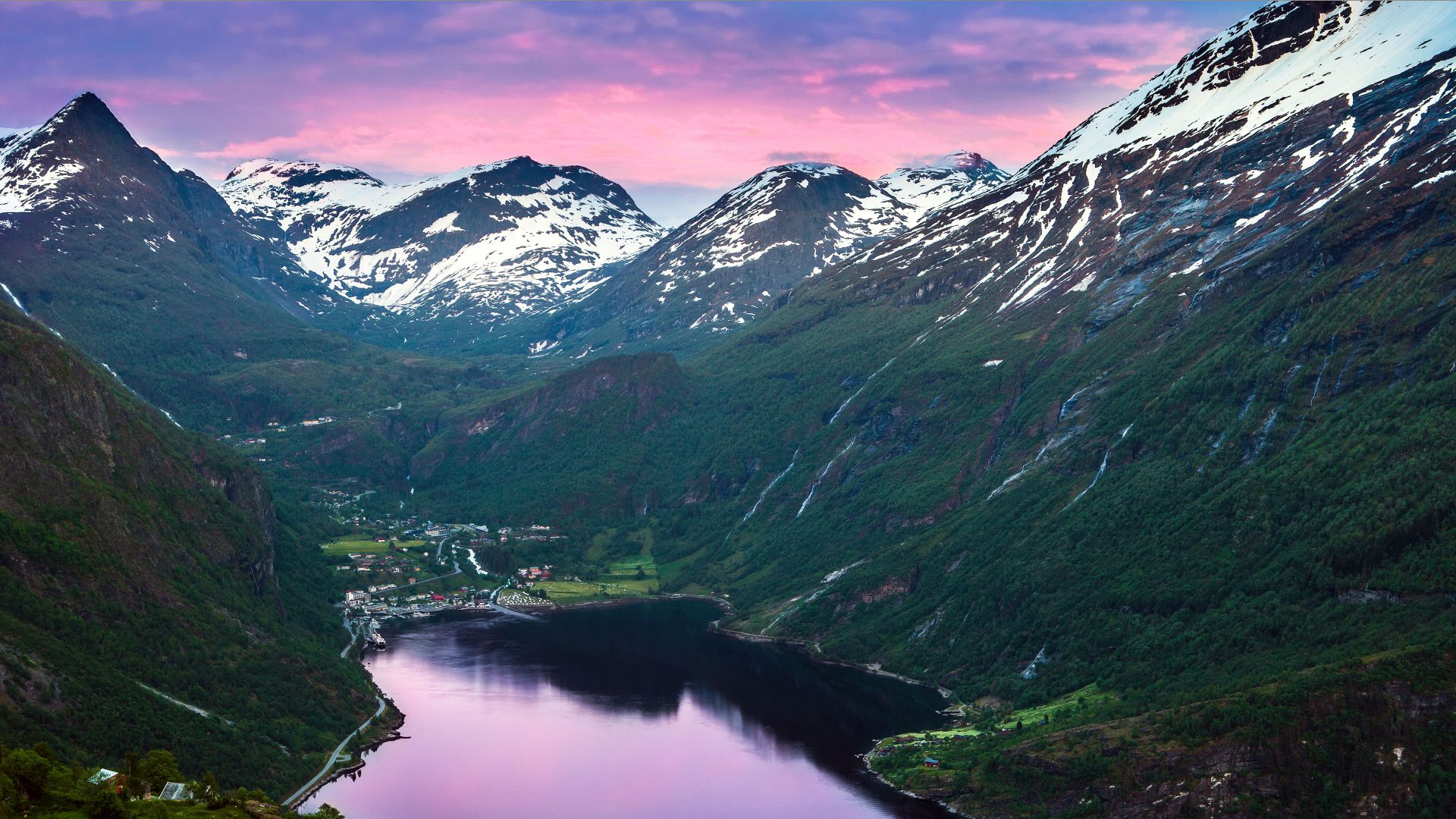 Норвегия, фьорд, горы, река, небо, Norway, fjord, mountains, river, sky