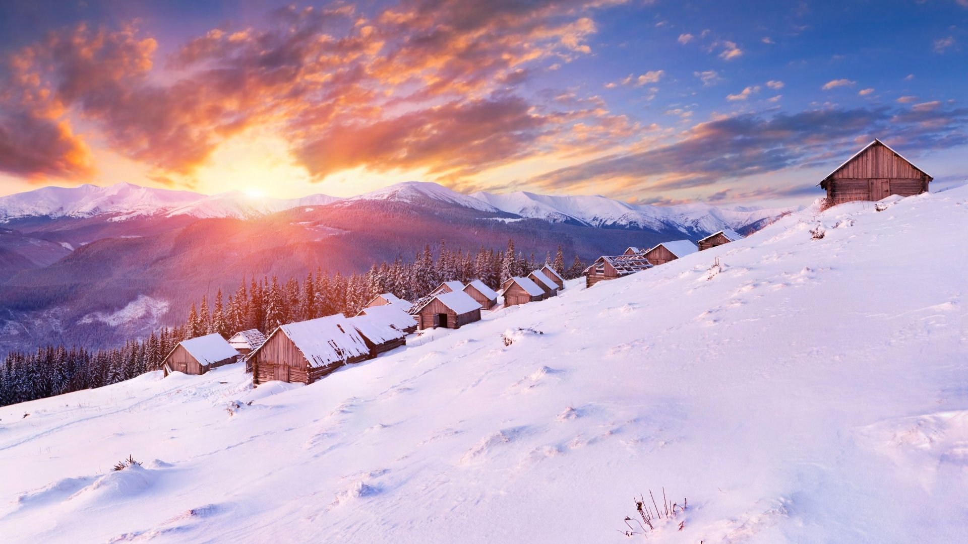 Горы, 5k, 4k, холмы, закат, снег, зима, дом, Mountains, 5k, 4k wallpaper, hills, sunset, snow, winter, house (horizontal)