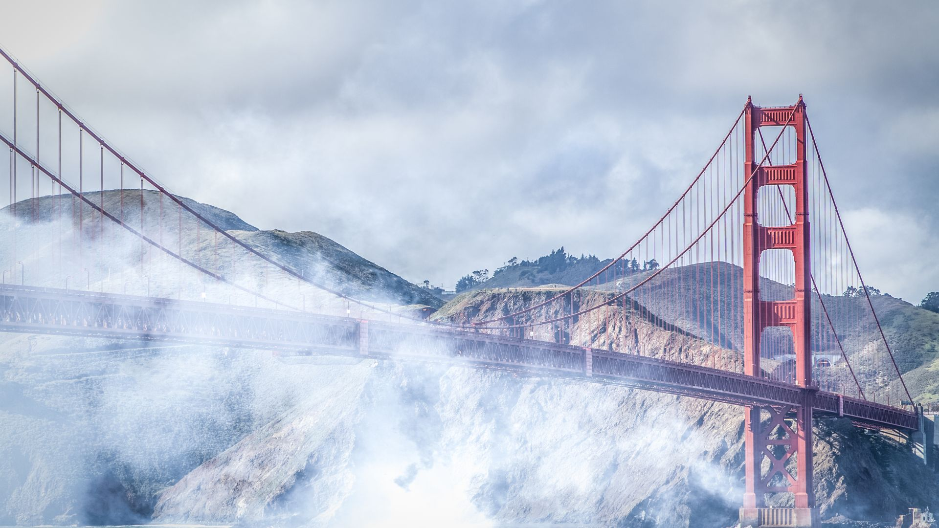 Сан - Франциско, 4k, 5k, Золотые Ворота, США, туман, мост, San Francisco, 4k, 5k wallpaper, Golden Gate, USA, fog, bridge (horizontal)