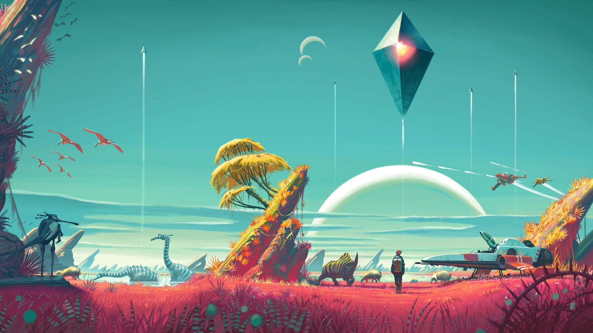 No Man's Sky, 4k, 5k, Лучшие игры 2015, игра, фантастика, космос, фентези, ПК, PS4, No Man's Sky, 4k, 5k wallpaper, Best Games 2015, game, sci-fi, space, fantasy, PC, PS4 (horizontal)