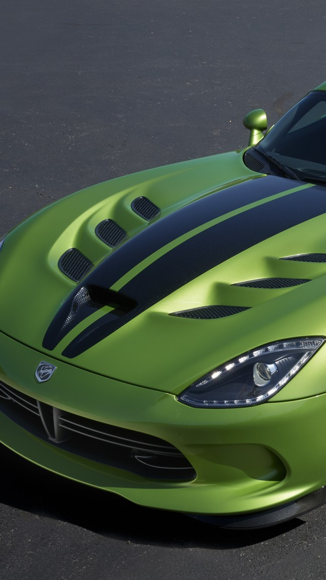 Додж Вайпер ГТС-Р, зеленый, скорость, Dodge Viper GTS-R, Commemorative Edition ACR, green, speed (vertical)