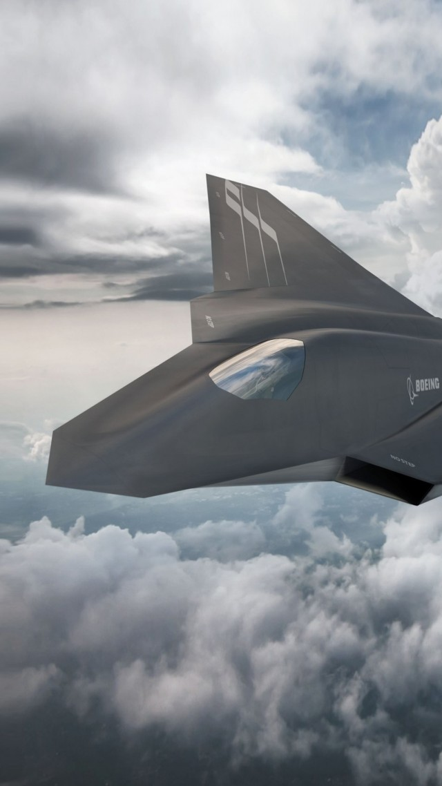Boeing F X, Боинг, истребитель, армия Сша, ВВС США, Boeing F X, fighter aircraft, clouds, Concept, U.S. Air Force (vertical)