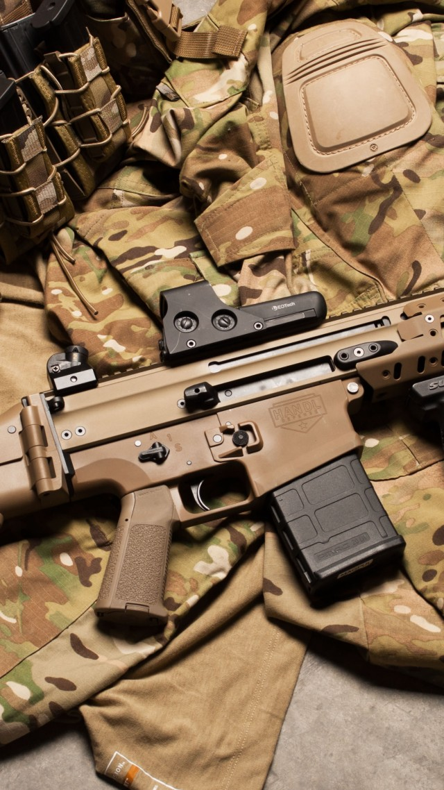 FN SCAR, штурмовая винтовка, аммуниция, униформа, FN SCAR, assault rifle, modular rifle, FN Herstal, hand grenade, military, ammunition, uniform (vertical)