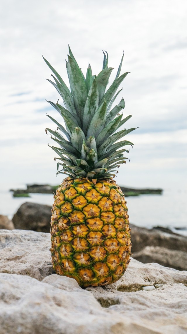 ананас, pineapple, fruit, stones, beach, 4k (vertical)