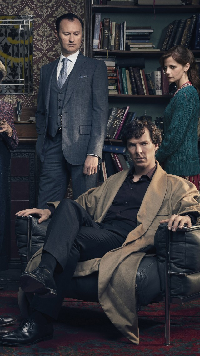 Шерлок 4, Sherlock Season 4, Benedict Cumberbatch, Martin Freeman, Louise Brealey, TV Series, 4k (vertical)