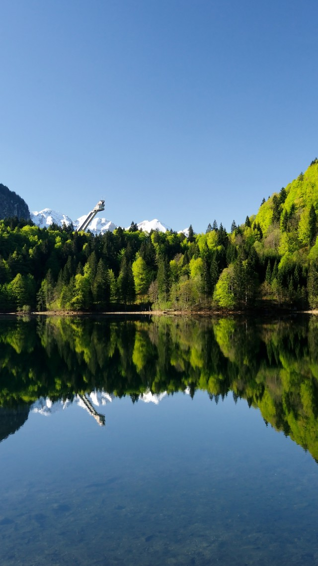 Оберстдорф, Германия, горы, озеро, Oberstdorf, Germany, Europe, mountains, lake, forest, 4k (vertical)