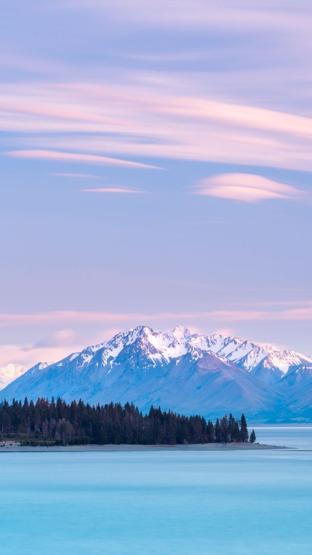 Озеро Текапо, Новая Зеландия, Lake Tekapo, New Zealand, mountains, sky clouds, 8k (vertical)