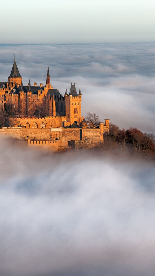 Замок Гогенцоллерн, Hohenzollern Castle, Germany, Europe, fog, 4k (vertical)