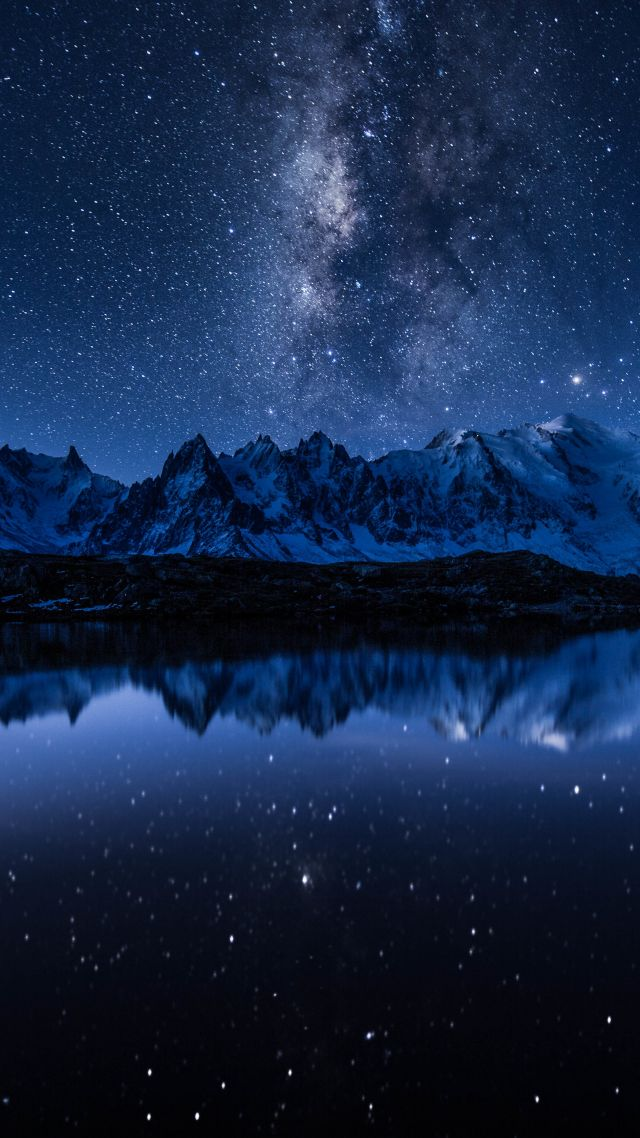 звезды, горы, stars, mountains, lake, 5k (vertical)