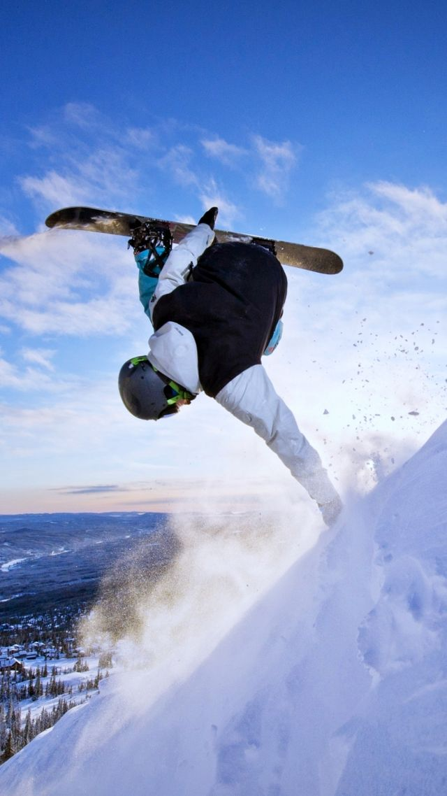сноубординг, snowboarding, winter, snow, sky, 4k (vertical)