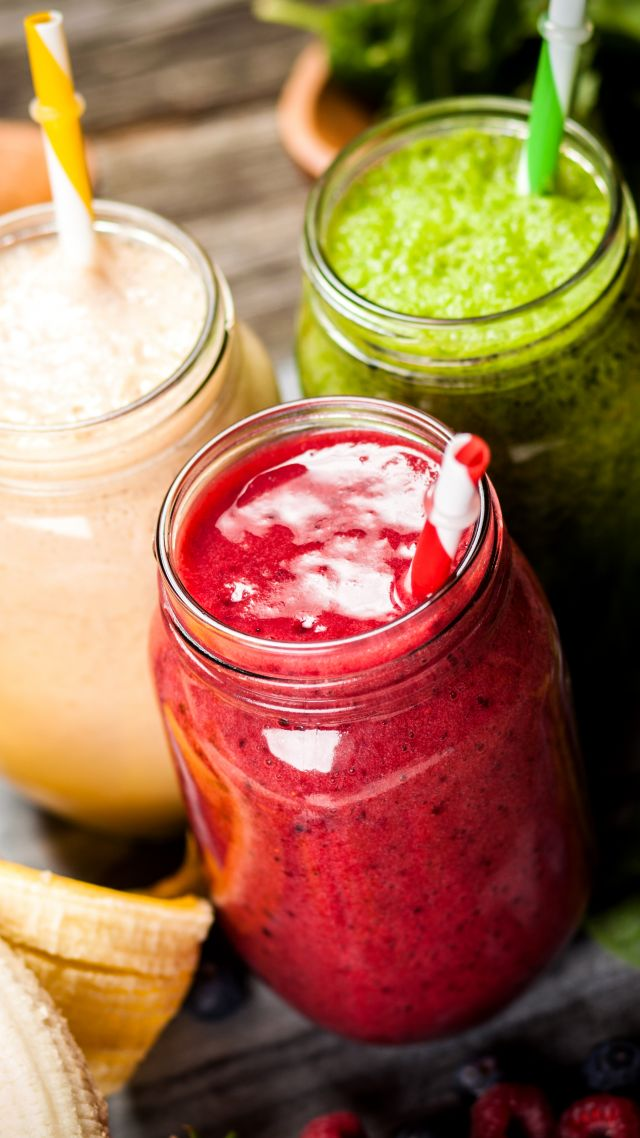 смузи, smoothies, strawberry, banana, mint, delicious, 5k (vertical)