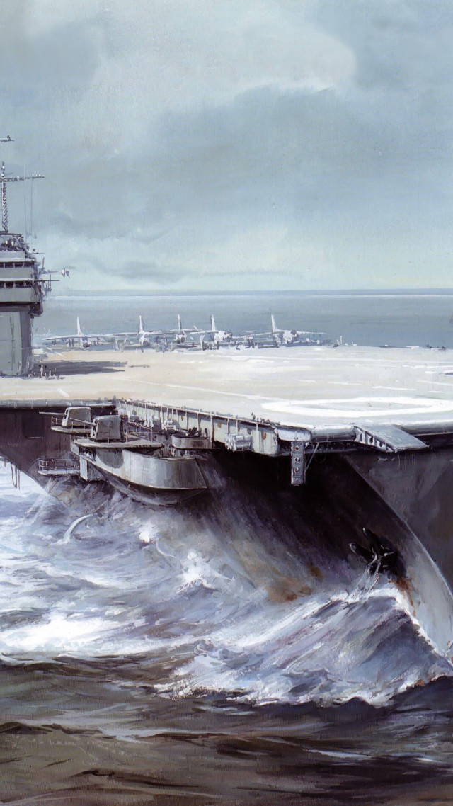 Саратога, авианосец, рисунок, арт, USS Saratoga, CVA 60, CVB-60, carrier, Forrestal-class, aircraft, art, painting (vertical)