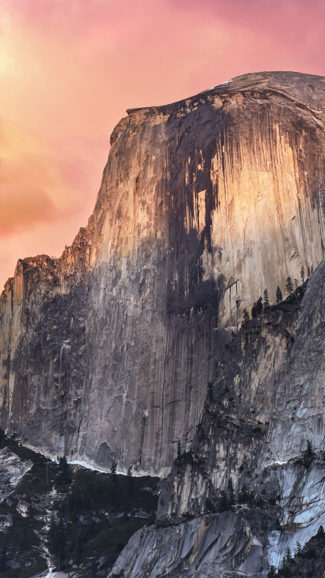Обои Эпл, горы, закат, El Capitan, yosemite, 5k wallpapers, forest, OSX, apple, mountains, sunset